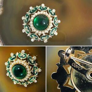 Vintage Coro Green Pearl Rhinestone Brooch Pin
